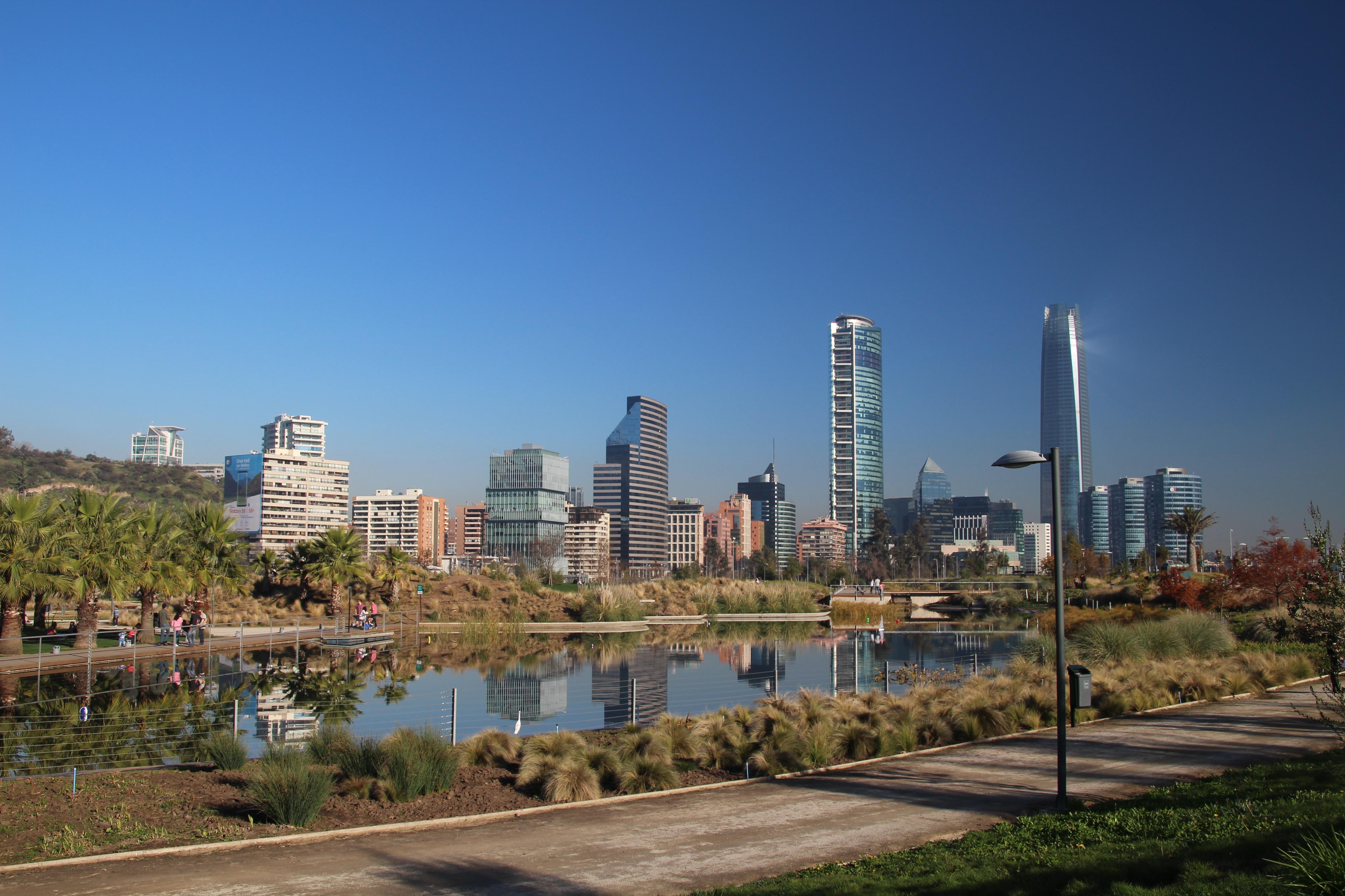 sanhattan chili parc bicentenario santiago de chile sky line