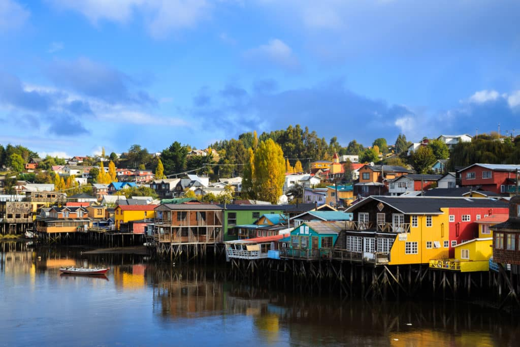 palafito castro traditional houses on stilts chiloé island south chile lake region