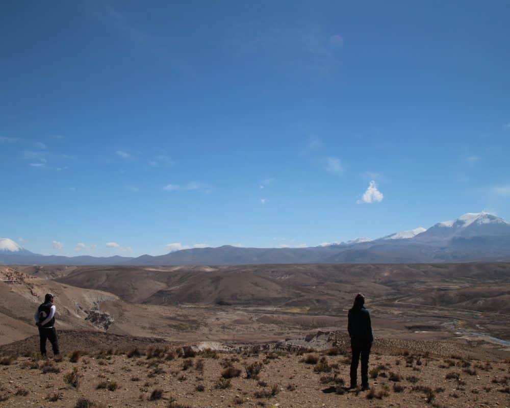 Mirador dans l'Altiplano au Chili pres de Putre et Arica