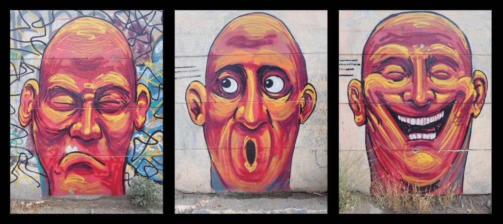 street art aperçu à Santiago qui représente bien les émotions que suscitent un road trip au chili