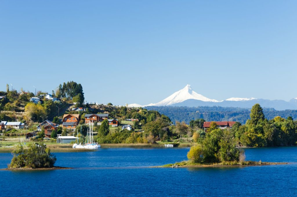 View of Puerto Octay and the Osorno volcano in Chile