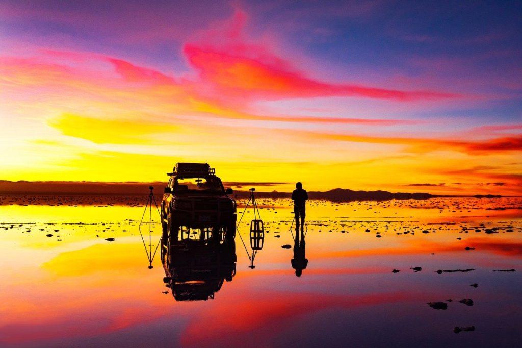 Sunrise on the salar of Uyuni ocher colors