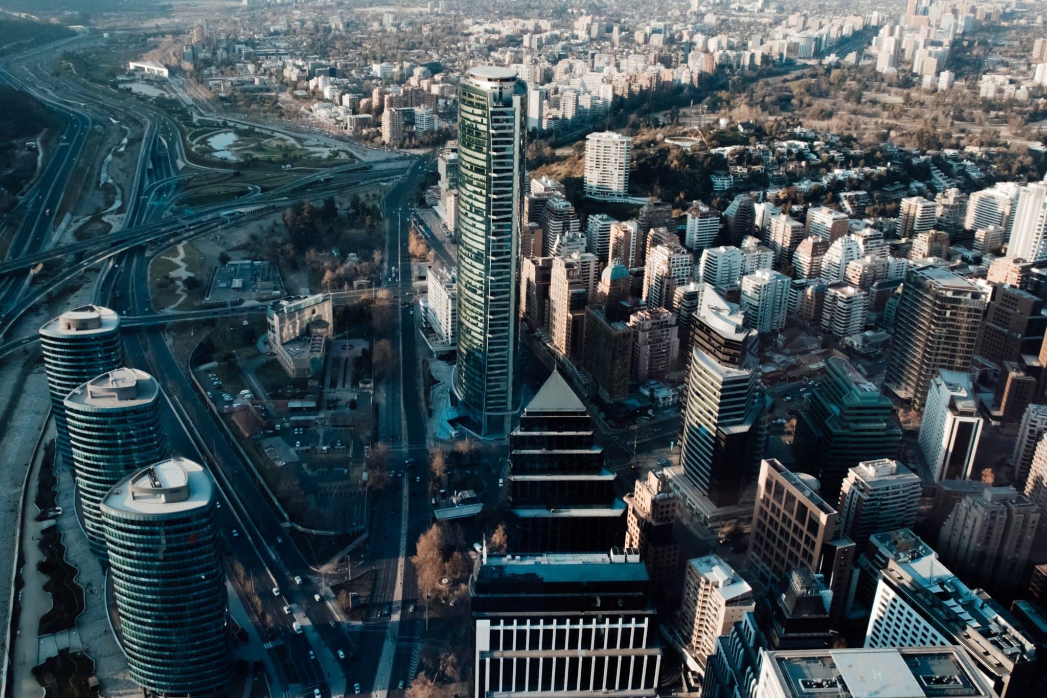 Vue aérienne de Santiago du Chili