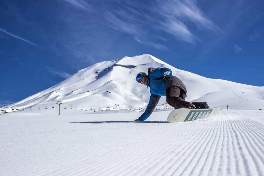skiing at corralco chile volcano south