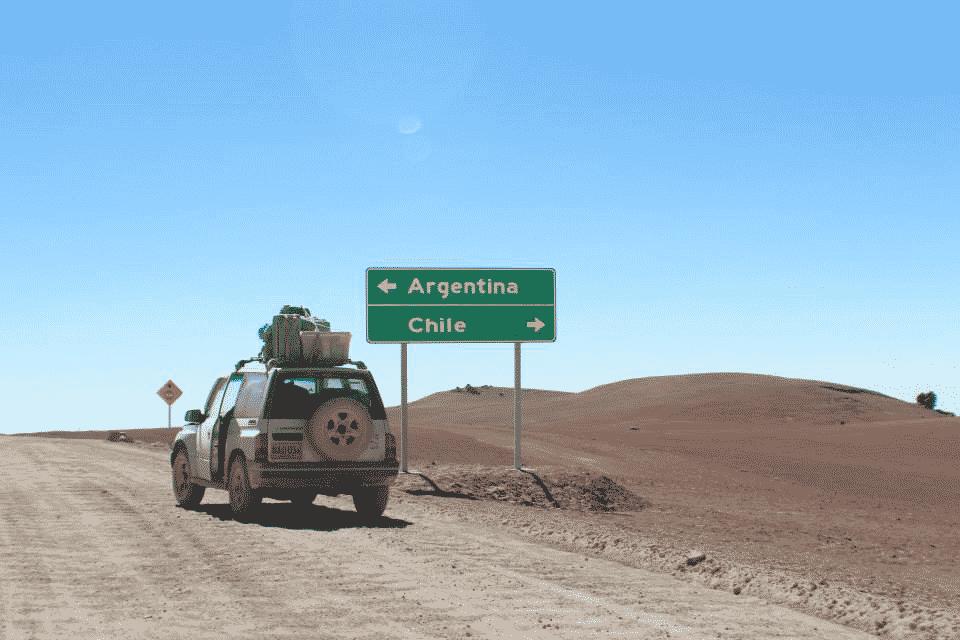frontiere route argentine chili panneau