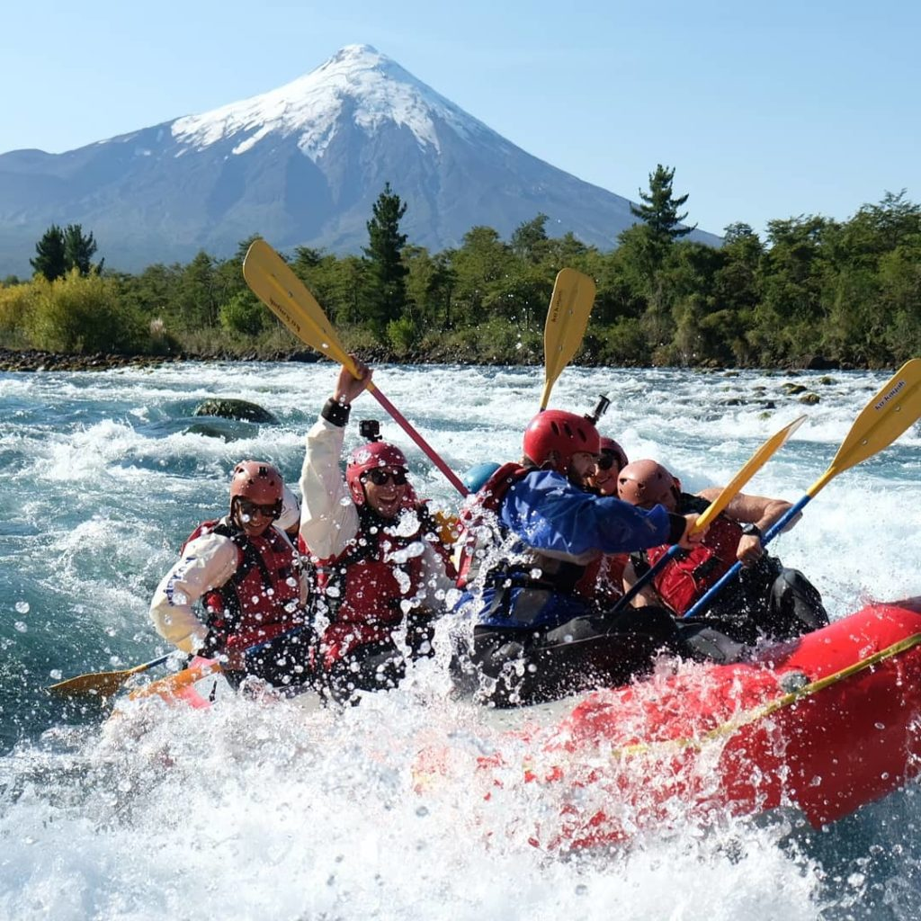 Rafting on the Rio with a view of the volcano