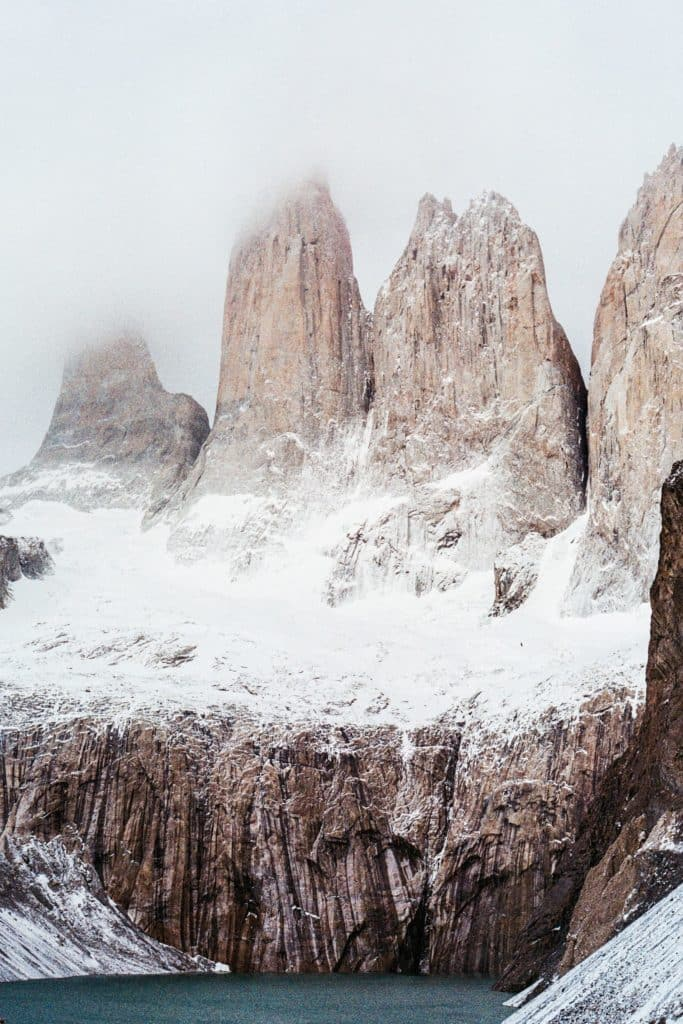 torres del paine in winter
