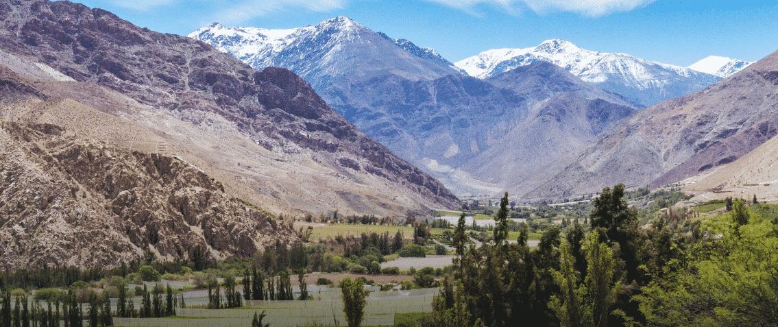 Panorama de la vallée de Elqui chili vignes